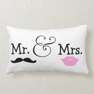 Mr and Mrs Bride And Groom Wedding Gift Lumbar Cushion