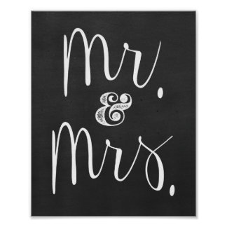 Mr. and Mrs. Chalkboard Wedding Sign Poster
