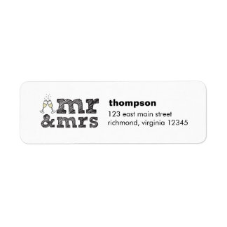 Mr and Mrs champagne glasses return label Return Address Label