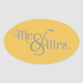 Mr. and Mrs. Classy Grey on Yellow Oval Sticker