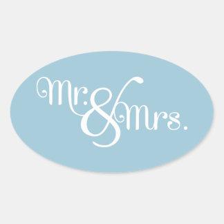 Mr. and Mrs. Classy White on Sky Oval Sticker