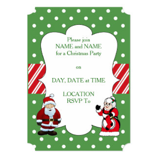 Mr and Mrs Claus Christmas Party Invitations