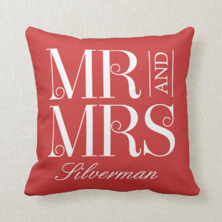 Mr and Mrs Custom Wedding Throw Pillow