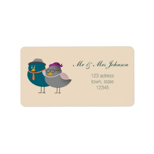 Mr and Mrs Cute Birds Cartoon Address Label