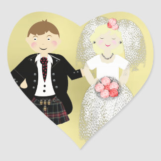 Mr and Mrs Cute Bride and Kilted Groom Heart Sticker