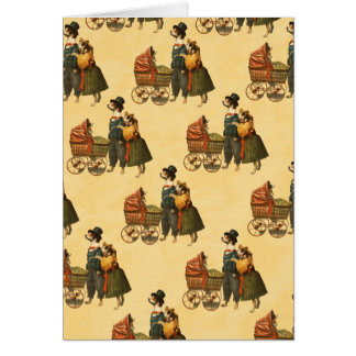 Mr and Mrs Dog and Puppy Vintage Wallpaper 1899 Card