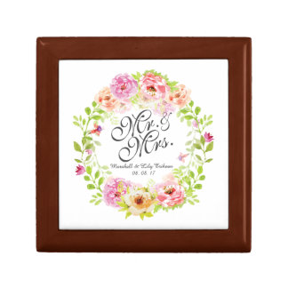 Mr and Mrs Elegant Floral Watercolor Gift Box