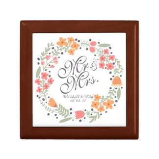 Mr and Mrs Elegant Floral Wedding Gift Box