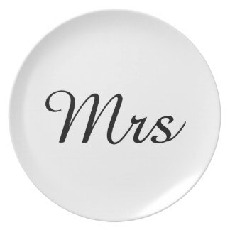 Mr and Mrs | elegant modern matching couple Dinner Plate