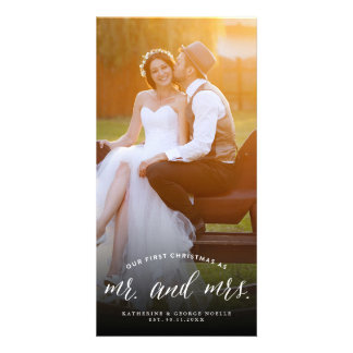 Mr and Mrs First Christmas Chic Holiday Photo Card