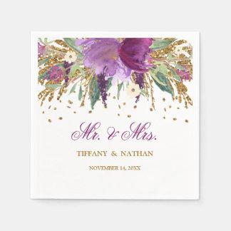 Mr and Mrs Floral Glitter Amethyst Wedding Napkin Disposable Serviette