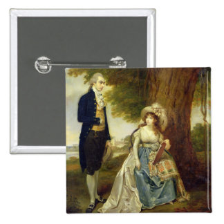 Mr and Mrs Fraser, c.1785-90 (oil on canvas) 15 Cm Square Badge