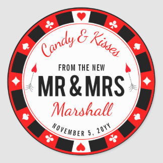 Mr and Mrs Las Vegas Poker Chip Wedding Favor Classic Round Sticker