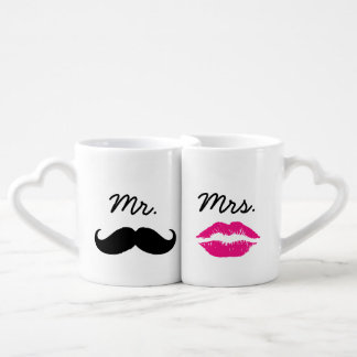 Mr. And Mrs. Lips And Mustache Couples Mugs Lovers Mug Sets