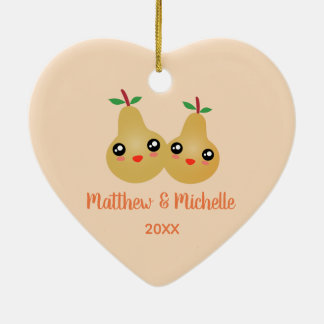 Mr and Mrs Lovely Pair Cute Kawaii Perfect Pear Ceramic Ornament