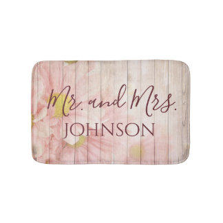 Mr and Mrs Lovely Pink Floral Bath Mat