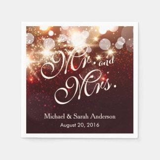 Mr. and Mrs. Luxury Gold Glitter Sparkles Wedding Disposable Serviettes