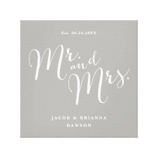 Mr. and Mrs. marriage farmhouse canvas