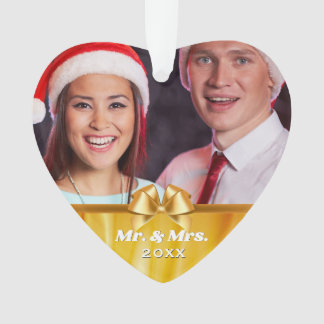 Mr. and Mrs. Married Couple 2 Photo Gold Bow Ornament