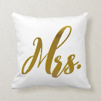 Mr and Mrs Metallic Gold Foil Pillow Set of 2