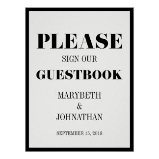 Mr and Mrs Modern Bold Wedding Guest Book Poster
