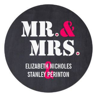 Mr. and Mrs. Modern typography black pink wedding Invite