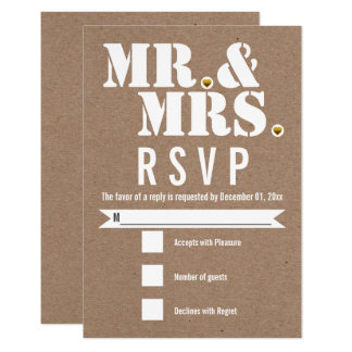 Mr. and Mrs. Modern typography kraft paper RSVP 9 Cm X 13 Cm Invitation Card