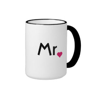 Mr. and Mrs. mugs with red love heart