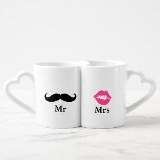 Mr and Mrs- Mustache and Lipstick Coffee Mug Set