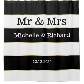 Mr And Mrs Names Wedding Date Black White Stripes Shower Curtain