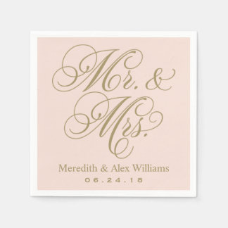 Mr. and Mrs. Napkins | Antique Gold and Blush Pink Paper Serviettes