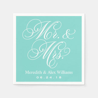 Mr. and Mrs. Napkins | Aqua Robin's Egg Blue Disposable Napkin