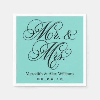 Mr. and Mrs. Napkins | Aqua Robin's Egg Blue Paper Napkin