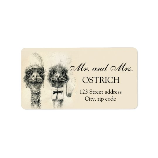 Mr. and Mrs. Ostrich Address Label