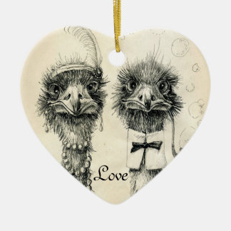 Mr. and Mrs. Ostrich Ceramic Heart Decoration