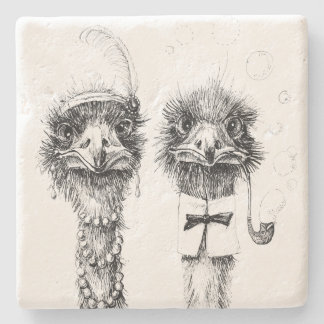 Mr. and Mrs. Ostrich Fancy  wedding couple Stone Coaster
