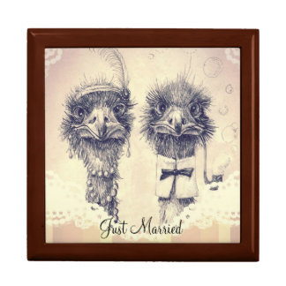 Mr. and Mrs. Ostrich Large Square Gift Box