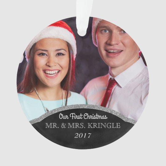 Mr. and Mrs. Our First Christmas Photo Ornament