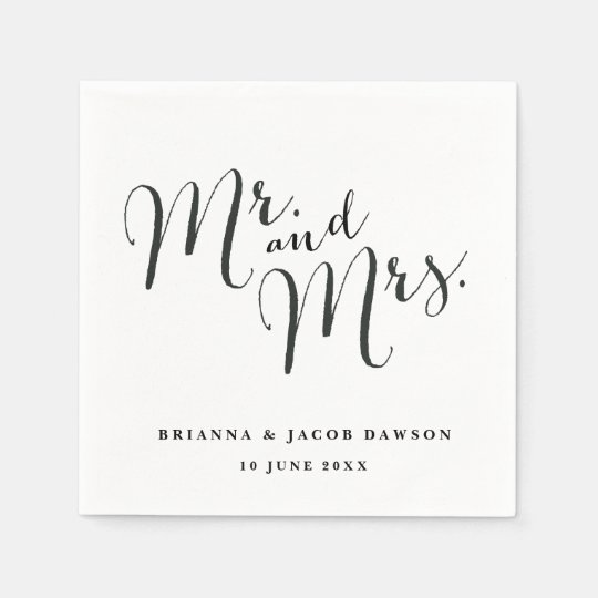 Mr. and Mrs. paper napkins