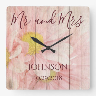 Mr and Mrs Personalised Floral Square Wall Clock