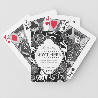 Mr and Mrs Personalized Anniversary or Wedding B&W Poker Deck