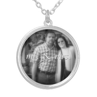 Mr. and Mrs. Personalized Bride and Groom Photo Necklaces