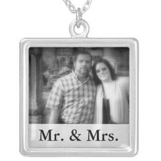 Mr. and Mrs. Personalized Bride and Groom Photo Custom Jewelry
