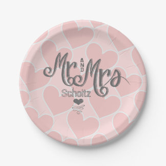 Mr. and Mrs. Pink Heart Pattern Chalkboard Style Paper Plate