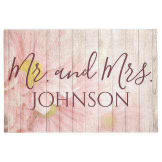 Mr and Mrs Pretty Pink Flowers Doormat