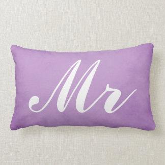 Mr and Mrs Purple Parchment Wedding Souvenir Lumbar Cushion