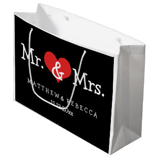 Mr and Mrs Red Heart Wedding Personalized Large Gift Bag