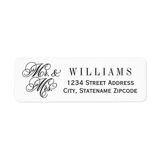 Mr. and Mrs. Return Address | Black Return Address Label