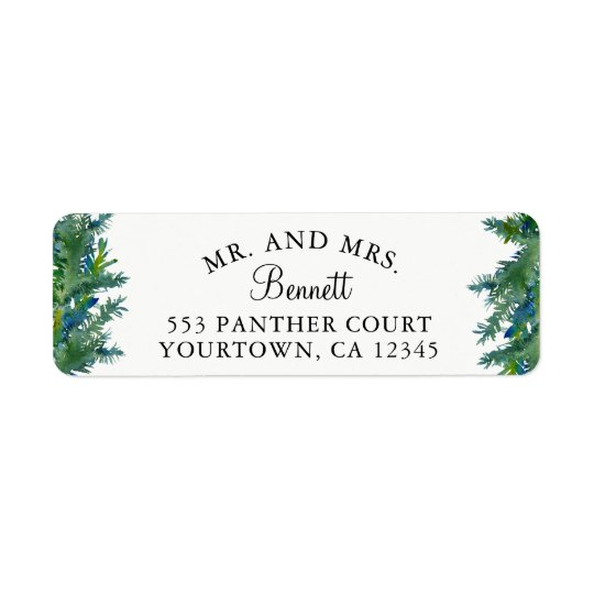 Mr and Mrs Return Address Labels - Pine Forest