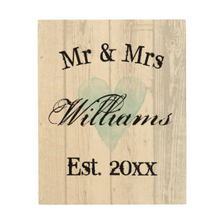 Mr and Mrs rustic wedding sign wood grain wall art